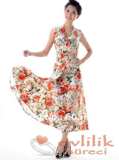 Çok güzel çiçek desenli abiye modelleri