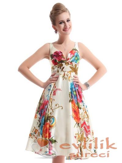 En zarif çiçek desenli elbise modelleri