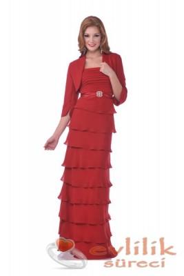 Kırmızı Renkli Bolerolu Abiye Modeli