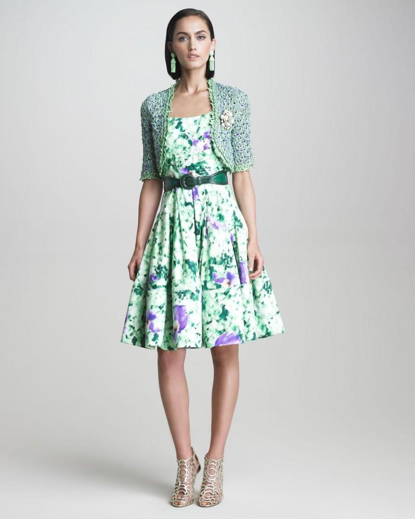 Çiçek Desenli Bolerolu Elbise Modelleri