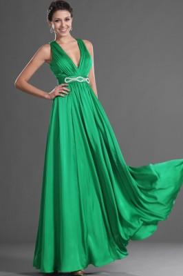 Kemer Detaylı Yeşil Renkli Abiye Modelleri