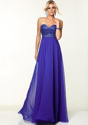 Şifon Detaylı Mavi Nişan Elbise Modelleri
