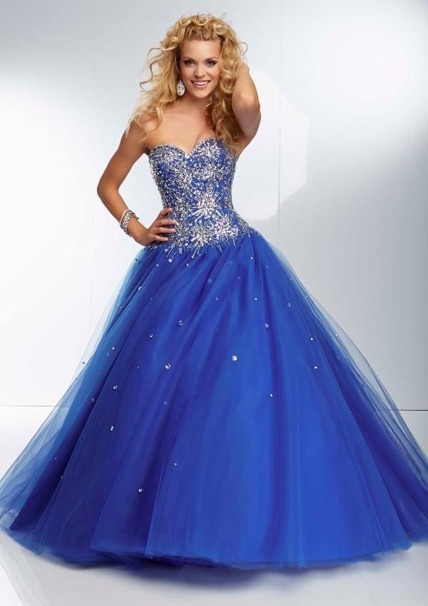 En Gösterişili Mavi Nişan Elbise Modelleri