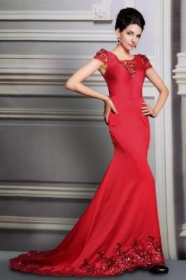 Süslemeli Çok Hoş Kırmızı nişanlık Elbise Modelleri