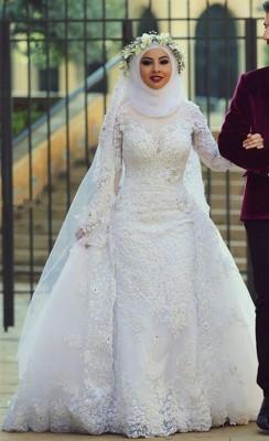 Tesettür Prenses Gelinlik Modelleri 2016