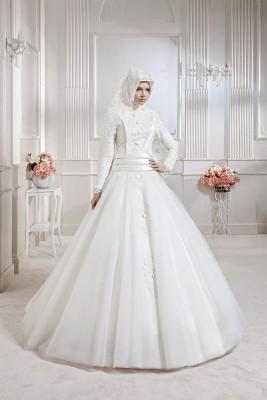 Tesettür Prenses Gelinlik Modası 2016