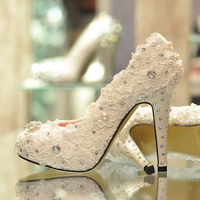 Zarif Taş Süslemeli Dantelli Gelin Ayakkabıları