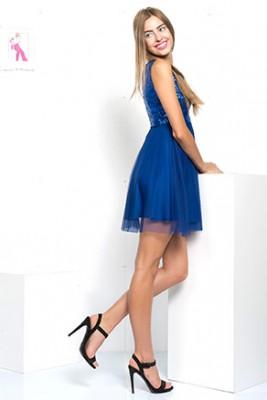 Şifon Detaylı İroni Abiye Elbise Modeli