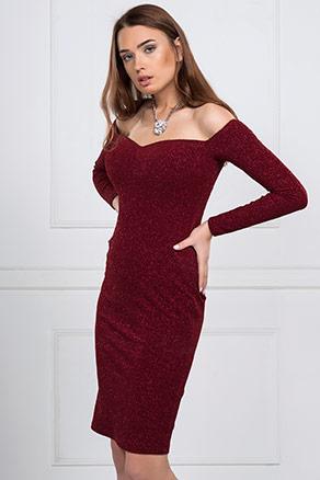 Bordo Renkli İroni Abiye Elbise Modeli