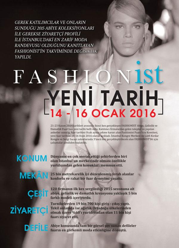 Fashionist Abiye, Gelinlik ve Damatlık Fuarı 14-16 Ocak