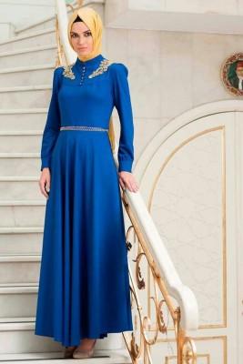 Mavi Renkli Çok Şık Söz Elbise Modelleri
