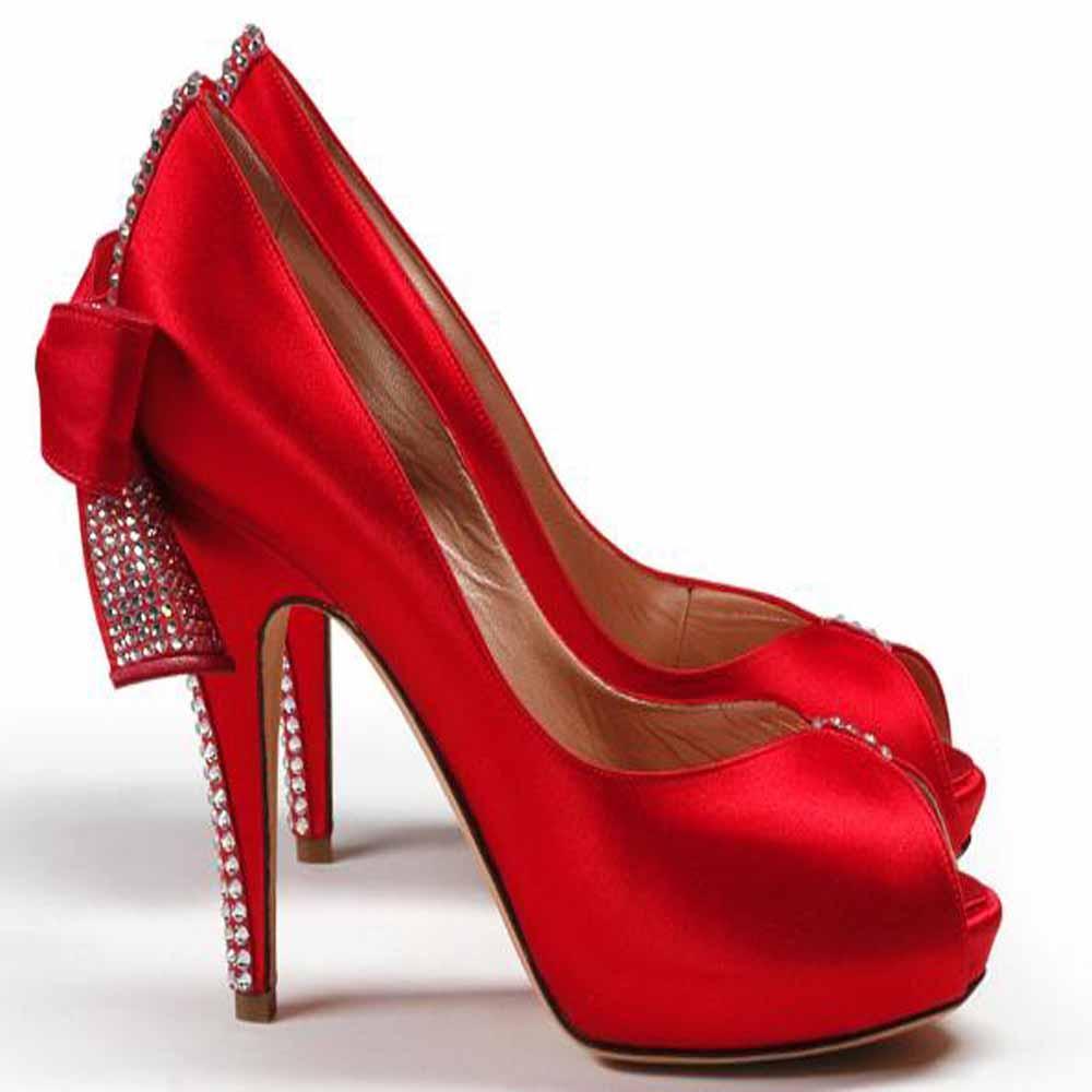 Ucu Açık Kırmızı Yüksek İşlemeli Topuklu Söz Ayakkabı Modelleri