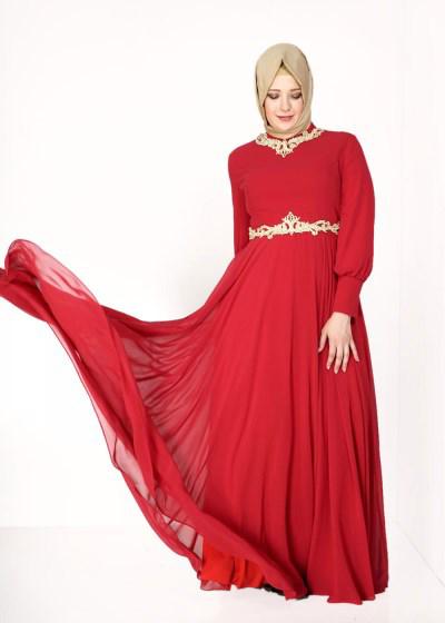 Şifon Detaylı Balık Etli Bayanlar İçin Nişan Elbise Modelleri