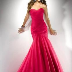 Kırmızı Uzun Nikah Şahidi Abiye Modeli