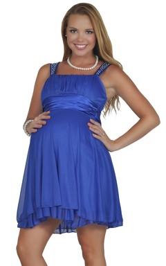 Mavi Renkli Askılı Mini Tül Detaylı Hamile Abiye Modeli