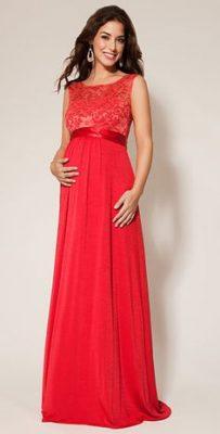 Kırmızı ve dantel Süslü Çok Güzel Uzun Hamile Abiye Modeli