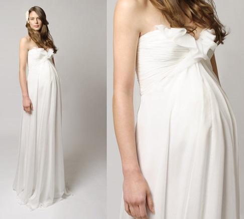 Beyaz Uzun Oldukça Kibar Hamile Abiye Modeli