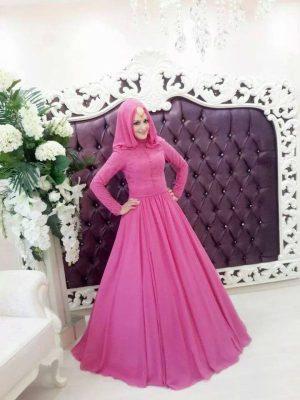 Pembe Renkli Tesettür KAbarık Nişanlık Modelleri 2017 Yılında Moda