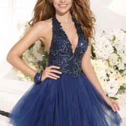 Çok Zarif Dekolte Tül Detaylı Nişan Elbise Modelleri