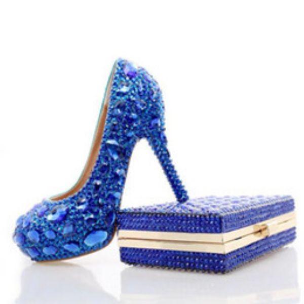İşlemeli Mavi Gelin Ayakkabısı Modelleri 2017
