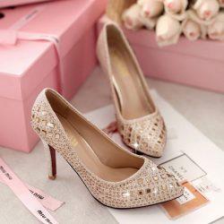 Parlak İşlemeli Nişan Ayakkabı Modelleri
