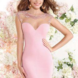 PEmbe Renkli Oldukça Şık Nişan İçin Uygun Elbise Modelleri