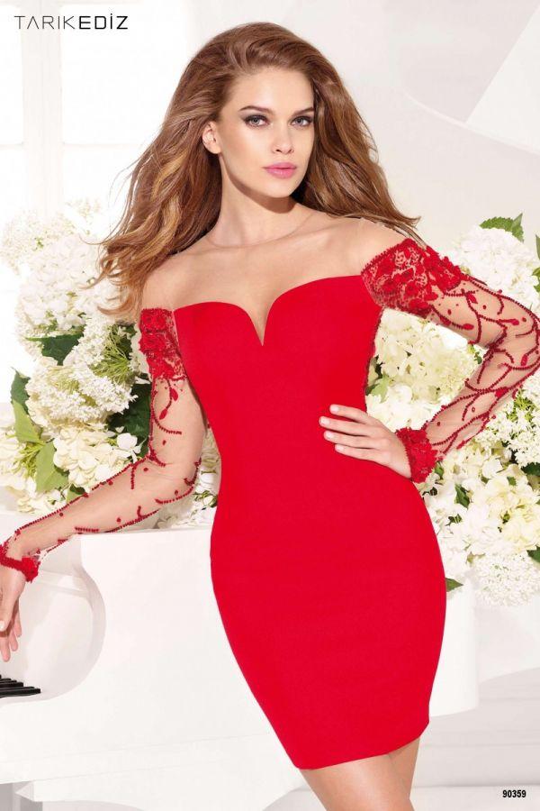 Kırmızı Renkli Oldukça Şık Elbise Modelleri