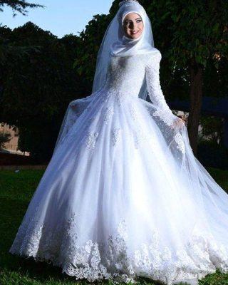 En Güzel Tesettür Prenses Gelinlik Modelleri 2017