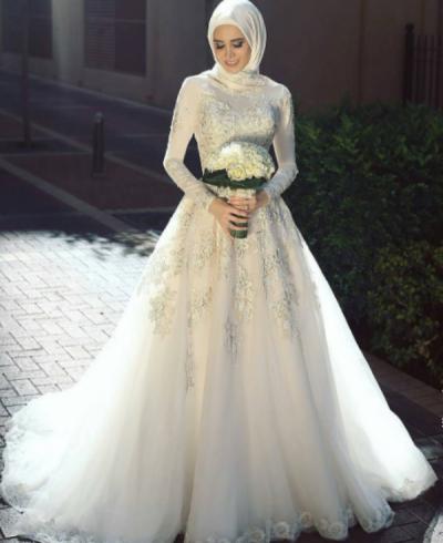 Yeni Sezon Tesettür Prenses Gelinlik Modelleri 2017