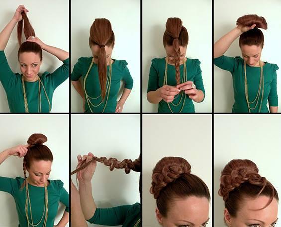 Düğün için pratik evde yapılacak saç tasarımları