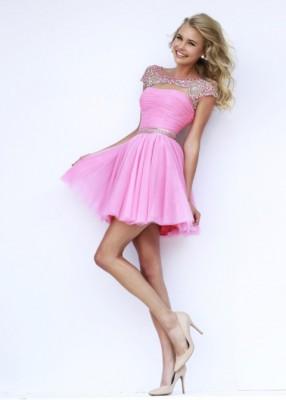 Pembe Renkli Kısa Nişan Elbise Modelleri