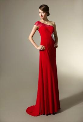 Tek Kollu Güpürlü Nişanlık Kırmızı Abiye Modeli