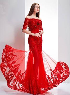 Uçuşan Kumaşlı Kırmızı Nişanlık Elbise Modelleri