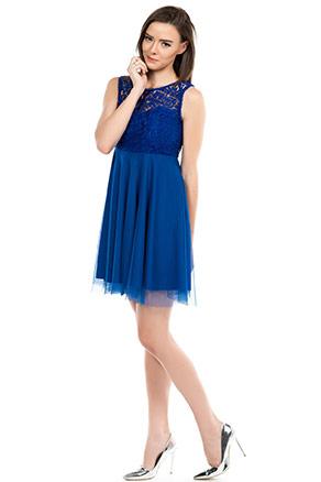 Saks Mavisi Dantel İşlemeli İroni Abiye Elbise Modeli