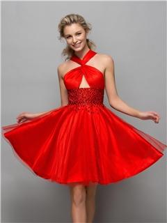 Boyundan Çapraz Askılı Kırmızı Renkli Söz Elbiseleri