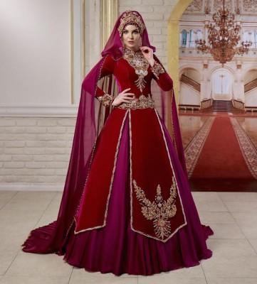 Kırmızı Renkli Tesettür Kaftan Nişanlık Modeli