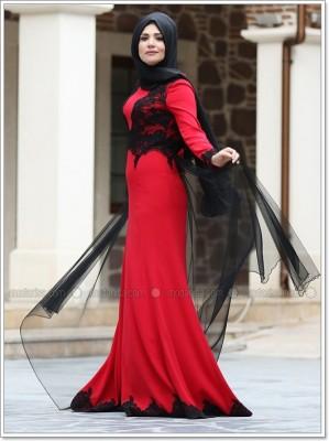 Modanisa Kırmızı Tesettür Nişanlık Modelleri 2016
