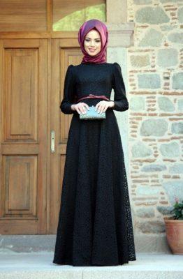 Kemer Detaylı Koyu Renkli Söz Elbise Modelleri
