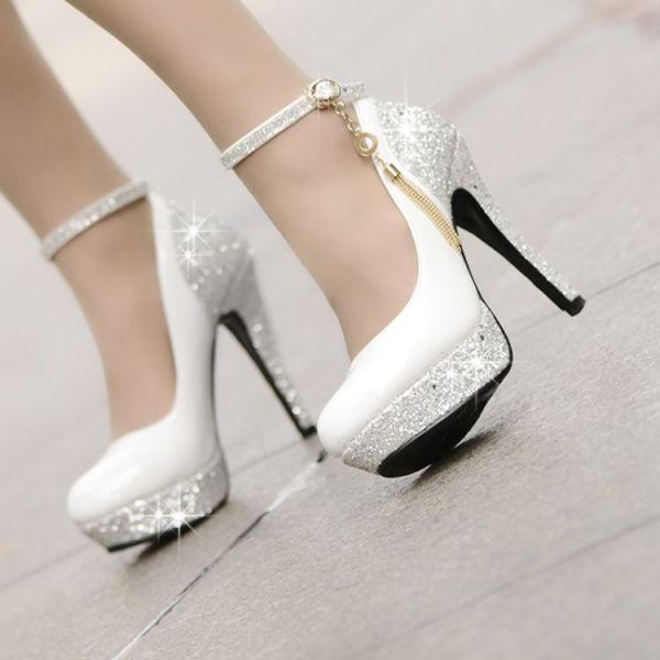 Parlak Taş İşlemeli Gelin Ayakkabı Modelleri 2018